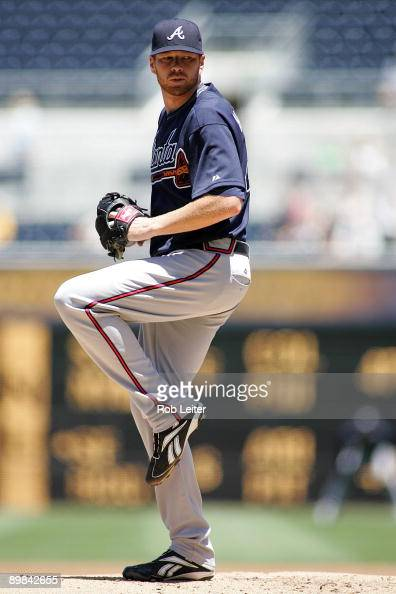 Tommy Hanson of the Atlanta Braves pitches during the game against the San Diego Padres at Petco Park on August 5 2009 in San Diego California The...