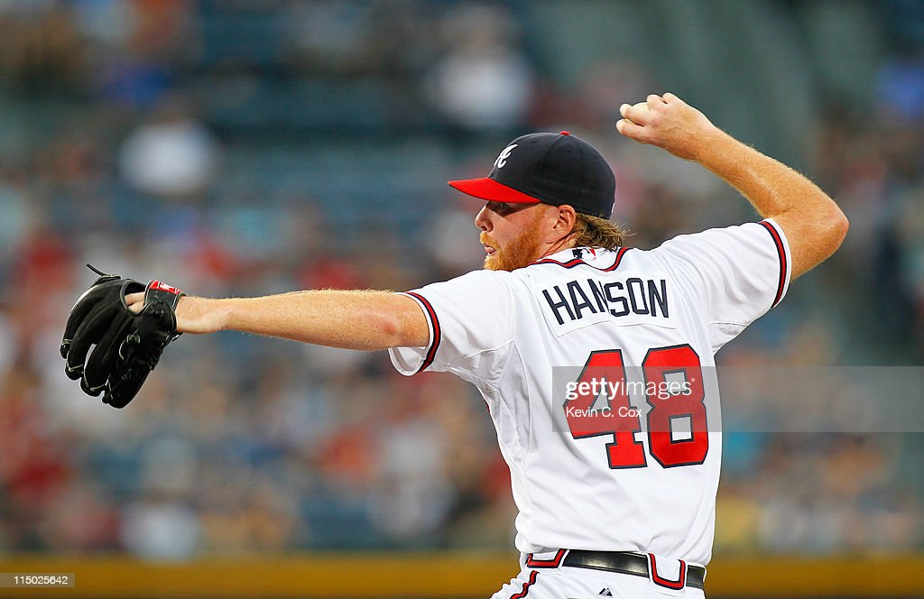 <a gi-track='captionPersonalityLinkClicked' href=/galleries/search?phrase=Tommy+Hanson&family=editorial&specificpeople=3358060 ng-click='$event.stopPropagation()'>Tommy Hanson</a> #48 of the Atlanta Braves pitches to the San Diego Padres at Turner Field on June 1, 2011 in Atlanta, Georgia.
