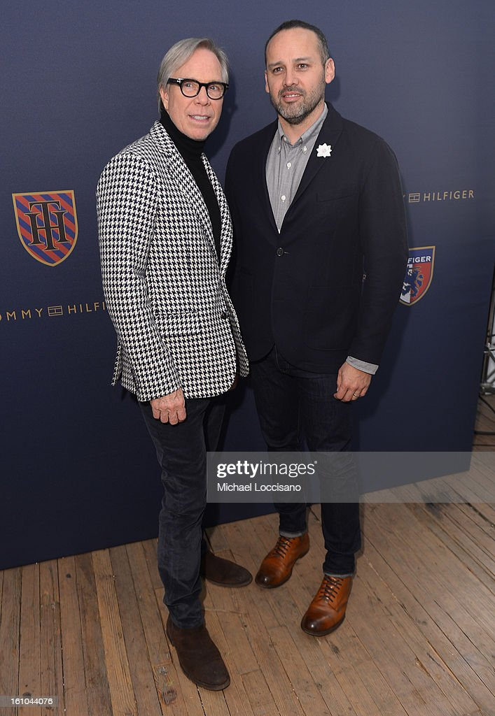Tommy Hilfiger and George Esquivel pose backstage at the Tommy Hilfiger Fall 2013 Men's Collection fashion show during Mercedes-Benz Fashion Week at the Park Avenue Armory on February 8, 2013 in New York City.