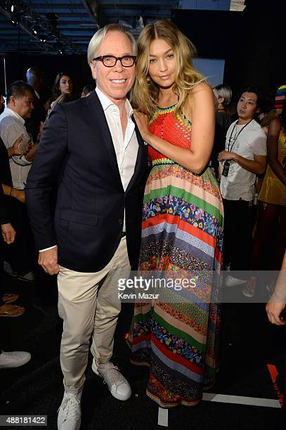 Tommy Hilfiger and Gigi Hadid pose backstage at Tommy Hilfiger Women's Spring 2016 during New York Fashion Week The Shows at Pier 36 on September 14...