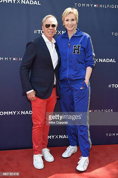 Tommy Hilfiger and Jane Lynch attend the Tommy Hilfiger and Rafael Nadal Global Brand Ambassadorship Launch at Bryant Park on August 25 2015 in New...