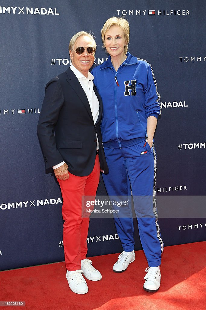 Tommy Hilfiger (L) and Jane Lynch attend the Tommy Hilfiger And Rafael Nadal Global Brand Ambassadroship Launch Event at Bryant Park on August 25, 2015 in New York City.