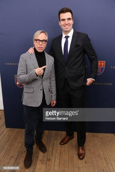 Tommy Hilfiger and Joe Flacco pose backstage at the Tommy Hilfiger Fall 2013 Men's Collection fashion show during MercedesBenz Fashion Week at the...