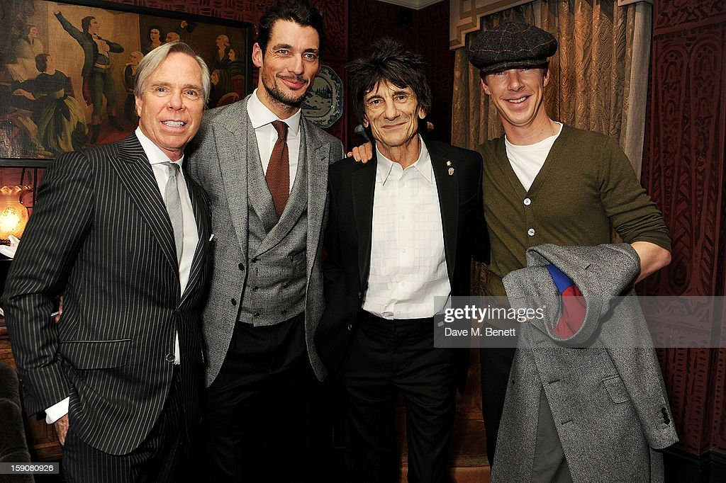 Tommy Hilfiger, <a gi-track='captionPersonalityLinkClicked' href=/galleries/search?phrase=David+Gandy&family=editorial&specificpeople=4377663 ng-click='$event.stopPropagation()'>David Gandy</a>, Ronnie Wood and <a gi-track='captionPersonalityLinkClicked' href=/galleries/search?phrase=Benedict+Cumberbatch&family=editorial&specificpeople=2487879 ng-click='$event.stopPropagation()'>Benedict Cumberbatch</a> attend the Esquire and Tommy Hilfiger party celebrating London Collections: MEN AW13, hosted by Esquire editor Alex Bilmes and Tommy Hilfiger, at the Zetter Townhouse on January 7, 2013 in London, England.