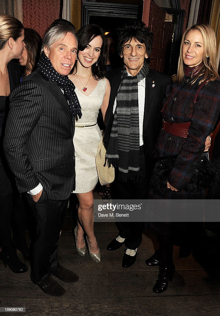 Tommy Hilfiger, Sally Humphreys, Ronnie Wood and <a gi-track='captionPersonalityLinkClicked' href=/galleries/search?phrase=Dee+Ocleppo&family=editorial&specificpeople=592235 ng-click='$event.stopPropagation()'>Dee Ocleppo</a> attend the Esquire and Tommy Hilfiger party celebrating London Collections: MEN AW13, hosted by Esquire editor Alex Bilmes and Tommy Hilfiger, at the Zetter Townhouse on January 7, 2013 in London, England.