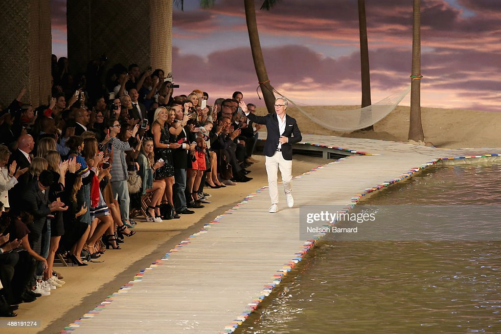 Tommy Hilfiger walks the runway at Tommy Hilfiger Women's Spring 2016 during New York Fashion Week The Shows at Pier 36 on September 14 2015 in New...
