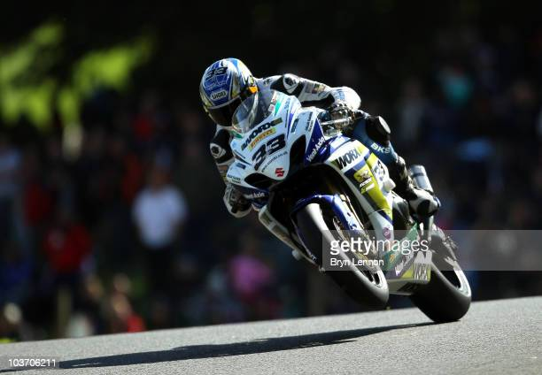 Tommy Hill of Great Britain and Worx Crescent Suzuki in action on The Mountain during qualifying for the British Superbike Championship at Cadwell...