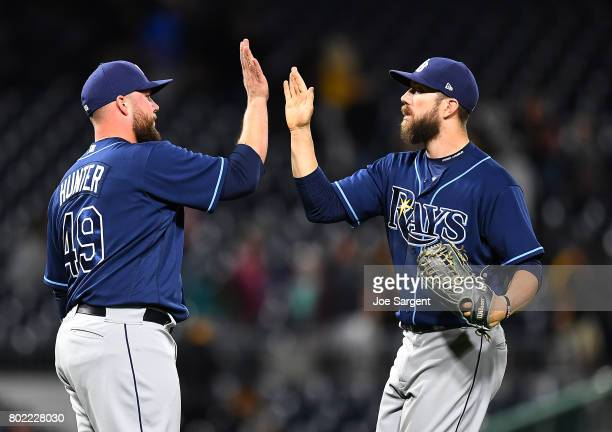 Tommy Hunter celebrates with Steven Souza Jr #20 of the Tampa Bay Rays after a 42 win over the Pittsburgh Pirates at PNC Park on June 27 2017 in...
