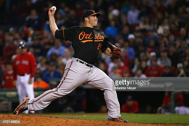 Tommy Hunter of the Baltimore Orioles pitches against the Boston Red Sox during the ninth inning at Fenway Park on April 17 2015 in Boston...