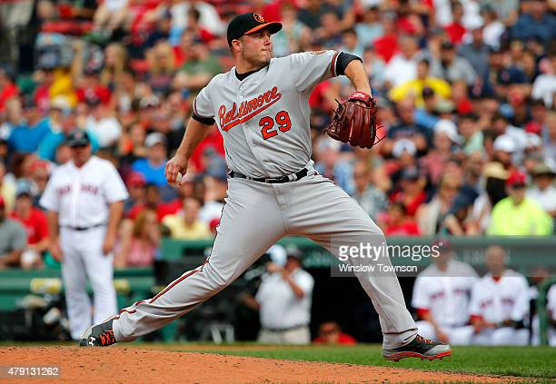 Tommy Hunter of the Baltimore Orioles pitches against the Boston Red Sox during the ninth inning in a game at Fenway Park on June 25 2015 in Boston...