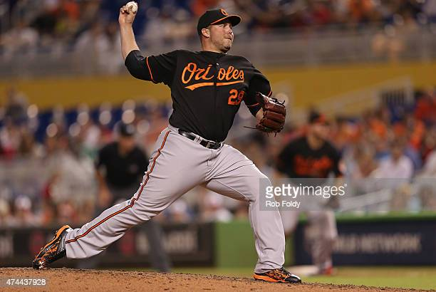 Tommy Hunter of the Baltimore Orioles pitches during the game against the Miami Marlins at Marlins Park on May 22 2015 in Miami Florida