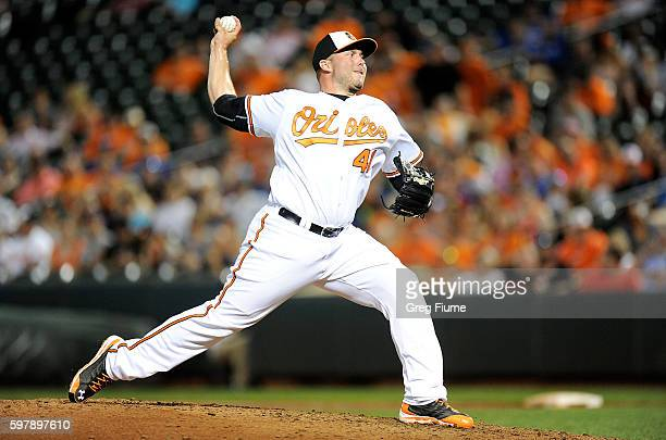 Tommy Hunter of the Baltimore Orioles pitches in the ninth inning against the Toronto Blue Jays at Oriole Park at Camden Yards on August 29 2016 in...
