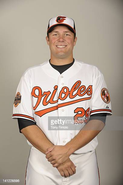 Tommy Hunter of the Baltimore Orioles poses during Photo Day on Thursday March 1 2012 at Ed Smith Stadium in Sarasota Florida