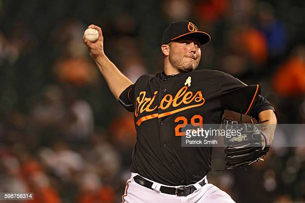 Tommy Hunter of the Baltimore Orioles works the ninth inning against the New York Yankees at Oriole Park at Camden Yards on September 2 2016 in...