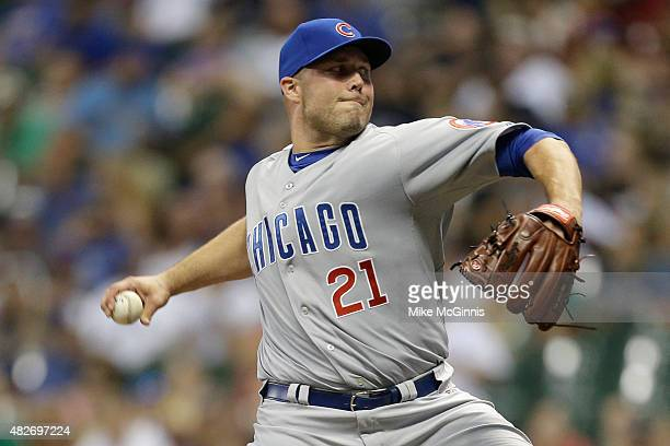 Tommy Hunter of the Chicago Cubs pitches during the ninth inning against the Milwaukee Brewers at Miller Park on August 01 2015 in Milwaukee Wisconsin