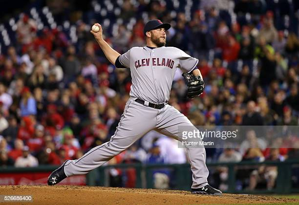 Tommy Hunter of the Cleveland Indians throws a pitch in the seventh inning during a game against the Philadelphia Phillies at Citizens Bank Park on...
