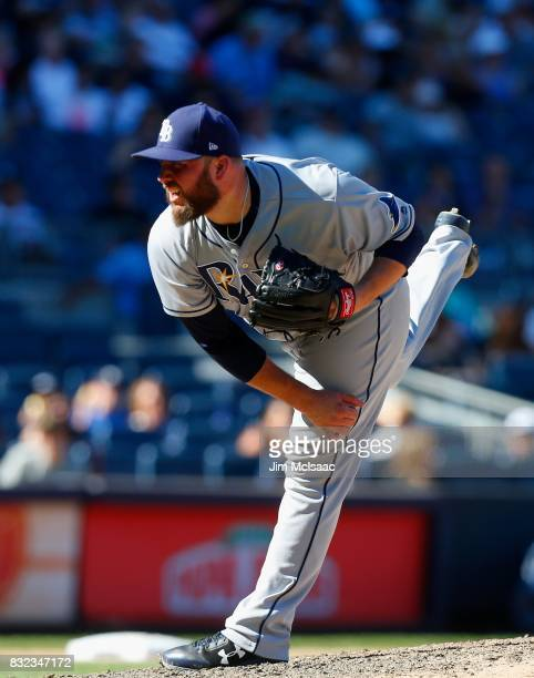 Tommy Hunter of the Tampa Bay Rays in action against the New York Yankees at Yankee Stadium on July 30 2017 in the Bronx borough of New York City The...