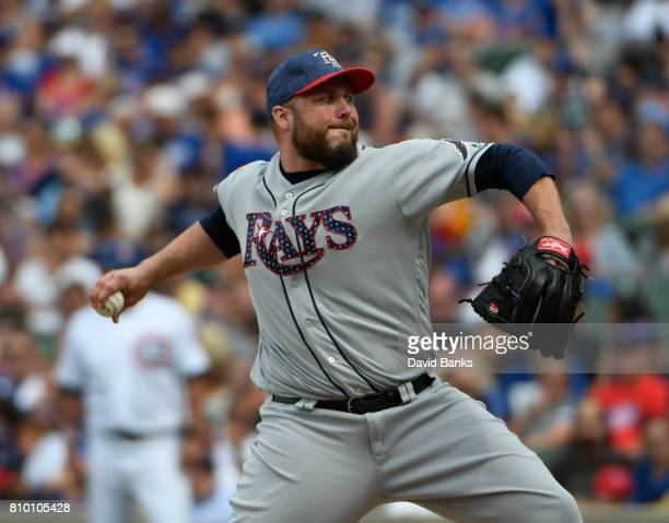 Tommy Hunter of the Tampa Bay Rays pitches against the Chicago Cubs on July 4 2017 at Wrigley Field in Chicago Illinois