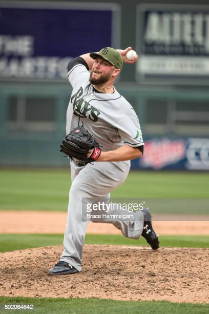 Tommy Hunter of the Tampa Bay Rays pitches against the Minnesota Twins on May 27 2017 at Target Field in Minneapolis Minnesota The Twins defeated the...