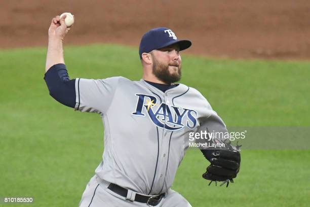 Tommy Hunter of the Tampa Bay Rays pitches during a baseball game against the Baltimore Orioles at Oriole Park at Camden Yards on July 4 2017 in...