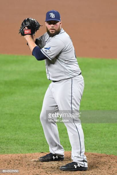 Tommy Hunter of the Tampa Bay Rays pitches during a baseball game against the Baltimore Orioles at Oriole Park at Camden Yards on September 22 2017...