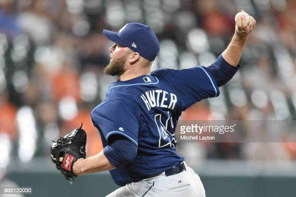 Tommy Hunter of the Tampa Bay Rays pitches during a baseball game against the Baltimore Orioles at Oriole Park at Camden Yards on September 23 2017...