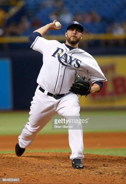 Tommy Hunter of the Tampa Bay Rays pitches during the ninth inning of a game against the New York Yankees on April 4 2017 at Tropicana Field in St...