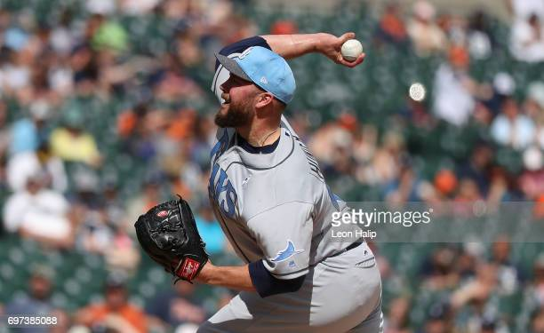 Tommy Hunter of the Tampa Bay Rays pitches during the ninth inning of the game against the Detroit Tigers on June 18 2017 at Comerica Park in Detroit...
