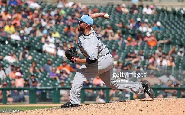 Tommy Hunter of the Tampa Bay Rays pitches in the ninth inning of the game against the Detroit Tigers on June 18 2017 at Comerica Park in Detroit...
