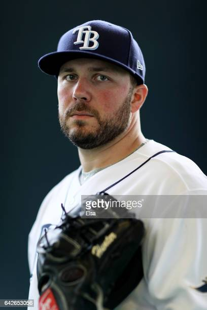 Tommy Hunter of the Tampa Bay Rays poses for a portrait during the Tampa Bay Rays photo day on February 18 2017 at Charlotte Sports Park in Port...