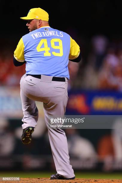Tommy Hunter of the Tampa Bay Rays wears a a nickname on his jersey for Player's Weekend as he pitches against the St Louis Cardinals in the seventh...
