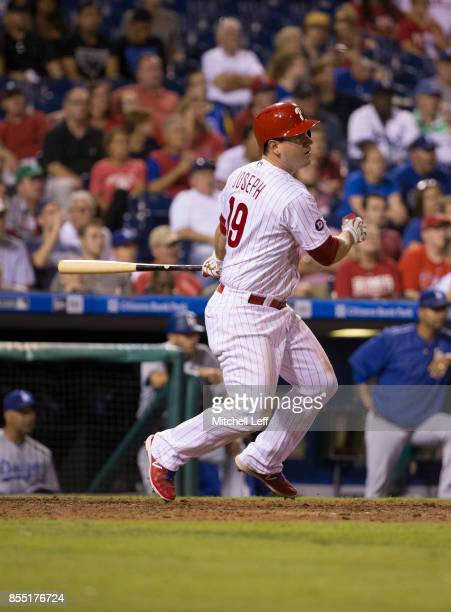 Tommy Joseph of the Philadelphia Phillies bats against the Los Angeles Dodgers at Citizens Bank Park on September 20 2017 in Philadelphia Pennsylvania