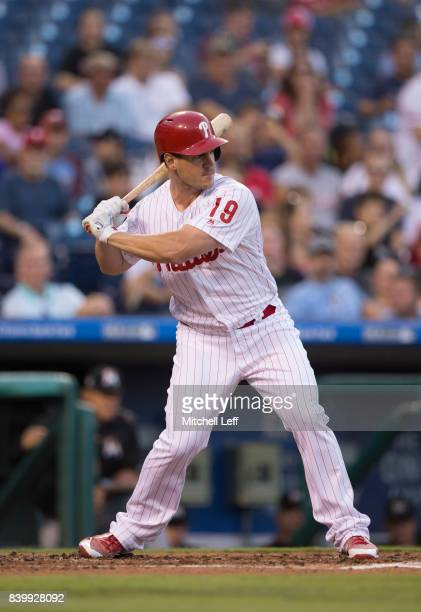 Tommy Joseph of the Philadelphia Phillies bats against the Miami Marlins at Citizens Bank Park on August 23 2017 in Philadelphia Pennsylvania