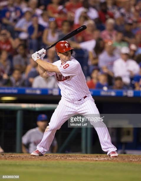 Tommy Joseph of the Philadelphia Phillies bats against the New York Mets at Citizens Bank Park on August 10 2017 in Philadelphia Pennsylvania The...