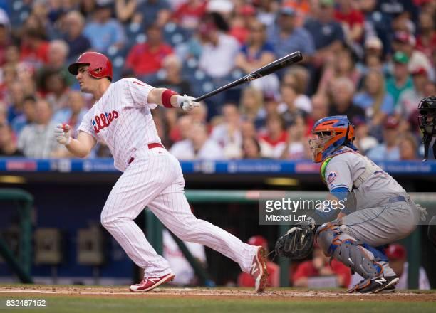 Tommy Joseph of the Philadelphia Phillies bats against the New York Mets at Citizens Bank Park on August 11 2017 in Philadelphia Pennsylvania