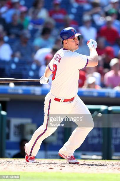 Tommy Joseph of the Philadelphia Phillies bats during the game against the Atlanta Braves at Citizens Bank Park on July 30 2017 in Philadelphia PA...