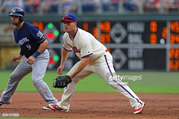 Tommy Joseph of the Philadelphia Phillies during a game against the Milwaukee Brewers at Citizens Bank Park on July 23 2017 in Philadelphia...