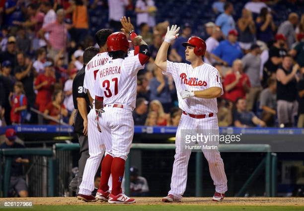 Tommy Joseph of the Philadelphia Phillies during a game against the Atlanta Braves at Citizens Bank Park on July 28 2017 in Philadelphia Pennsylvania...