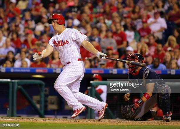 Tommy Joseph of the Philadelphia Phillies during a game against the Atlanta Braves at Citizens Bank Park on July 29 2017 in Philadelphia Pennsylvania...