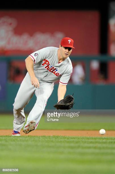 Tommy Joseph of the Philadelphia Phillies fields the ball against the Washington Nationals at Nationals Park on September 7 2017 in Washington DC