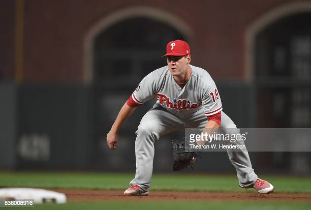 Tommy Joseph of the Philadelphia Phillies goes down to field a ground ball off the bat of Jarrett Parker of the San Francisco Giants in the bottom of...