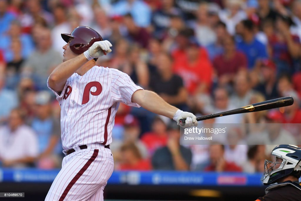 Tommy Joseph #19 of the Philadelphia Phillies hits a home run in the fourth inning against the San Diego Padres at Citizens Bank Park on July 7, 2017 in Philadelphia, Pennsylvania.