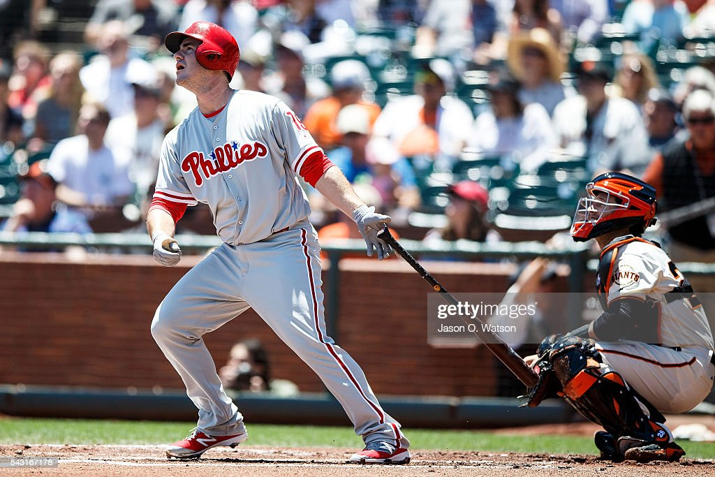 Tommy Joseph #19 of the Philadelphia Phillies hits a RBI sacrifice fly ball against the San Francisco Giants during the first inning at AT&T Park on June 26, 2016 in San Francisco, California.