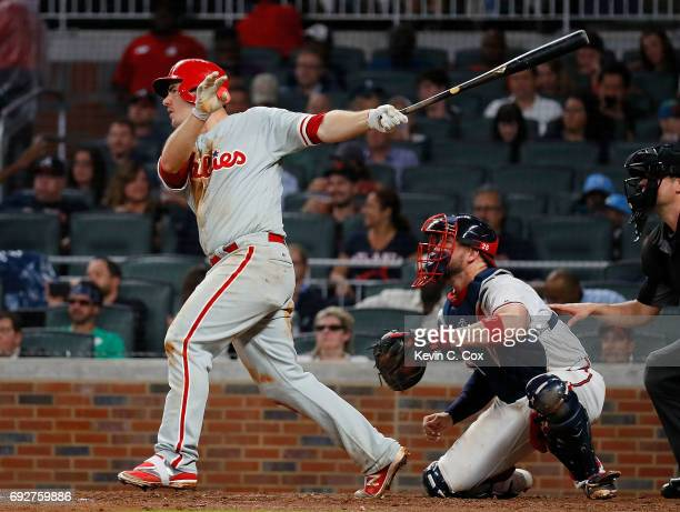 Tommy Joseph of the Philadelphia Phillies hits a single in the sixth inning against the Atlanta Braves at SunTrust Park on June 5 2017 in Atlanta...