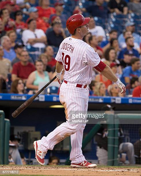 Tommy Joseph of the Philadelphia Phillies hits a solo home run in the bottom of the fourth inning against the Miami Marlins at Citizens Bank Park on...