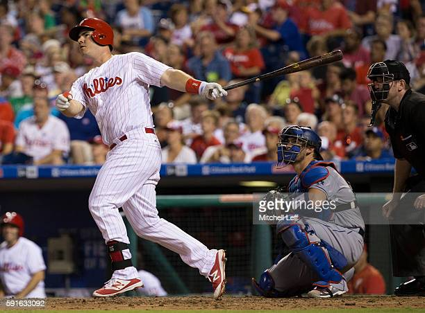 Tommy Joseph of the Philadelphia Phillies hits a solo home run in the bottom of the sixth inning against the Los Angeles Dodgers at Citizens Bank...