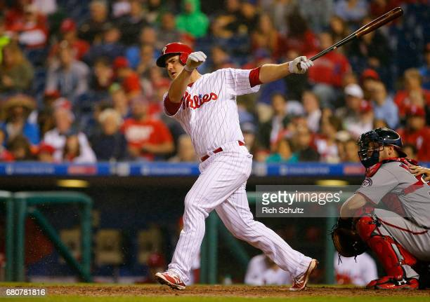Tommy Joseph of the Philadelphia Phillies in action against the Washington Nationals during a game at Citizens Bank Park on May 5 2017 in...