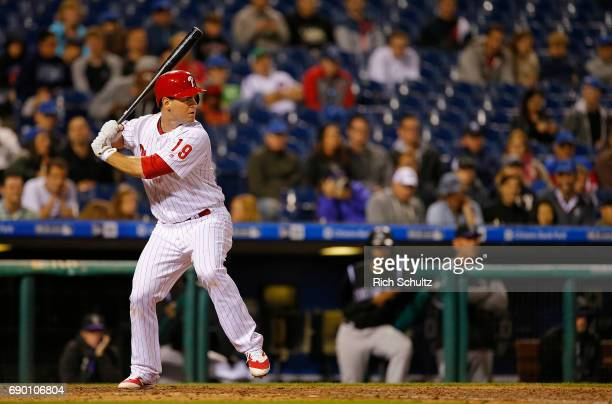 Tommy Joseph of the Philadelphia Phillies in action against the Colorado Rockies during a game at Citizens Bank Park on May 24 2017 in Philadelphia...