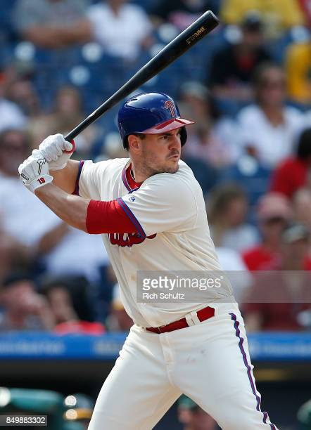 Tommy Joseph of the Philadelphia Phillies in action against the Oakland Athletics during a game at Citizens Bank Park on September 17 2017 in...