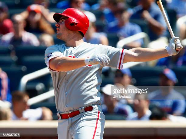Tommy Joseph of the Philadelphia Phillies in action against the New York Mets at Citi Field on September 4 2017 in the Flushing neighborhood of the...